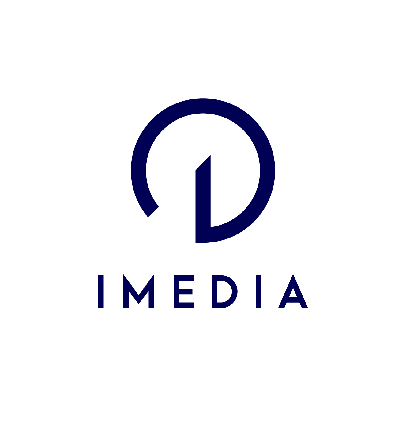 imedia logo screen vertical bleu